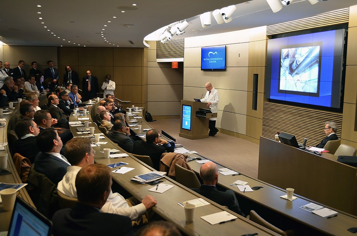 A surgical education workshop at the Mitral Foundation, a Mount Sinai institution that hosts the world's largest video teaching library of mitral valve repair procedures, with videos available to surgeons around the globe.